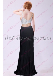 Charming White and Black 2 Pieces Sexy Evening Dress