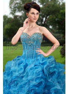 Elegant Blue Ruffles Quinceanera Dress 2016