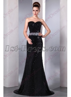 Elegant Sweetheart Black Sequin Prom Dress 2016