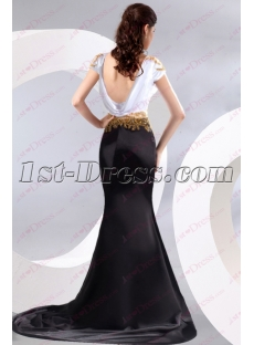 Open Back White and Black Prom Dress 2016