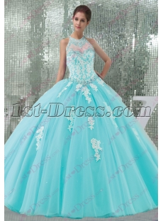 Pretty Blue Tulle Halter 2016 Quinceanera Dress