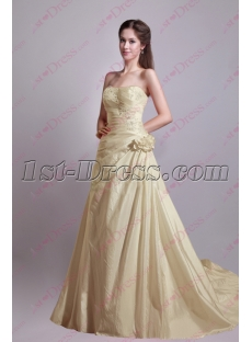 Pretty Champagne Taffeta A-line Princess Bridal Gown
