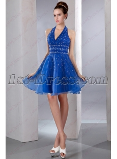 Royal Blue Halter Beaded Short Prom Dress 2016