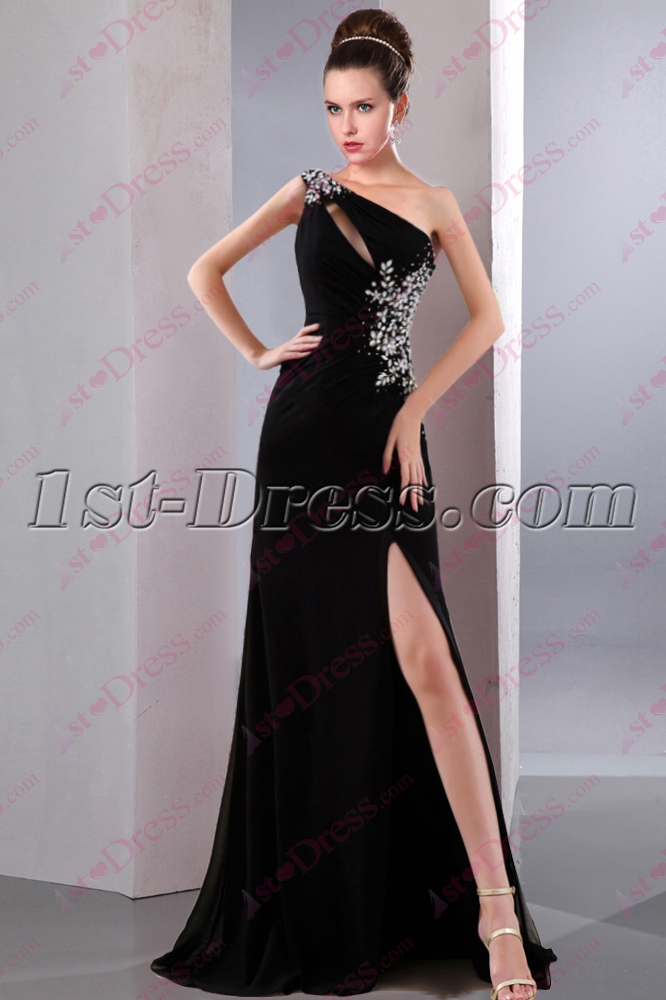 2016 Black One Shoulder Slit Prom Dress1st Dress