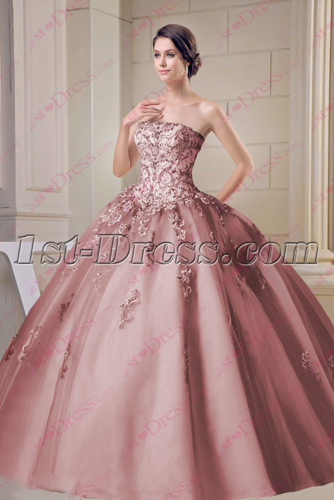 Beautiful Dusty Rose Strapless Sweet 15 Ball Gown:1st-dress.com