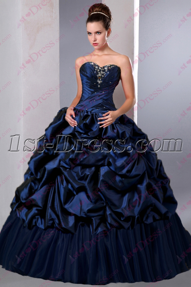 Beautiful Navy Blue Puffy Sweet 15 Gown 2016 1st Dress Com