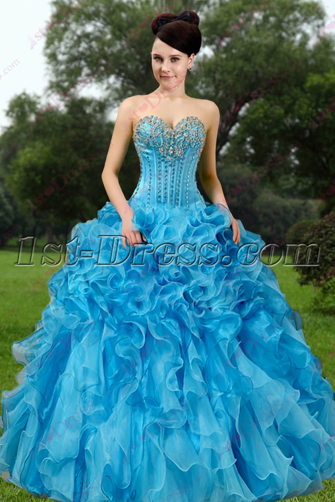 e37b18603d Elegant Blue Ruffles Quinceanera Dress 2016 1st-dress.com