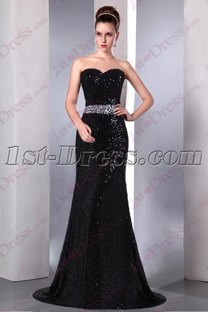 Elegant Sweetheart Black Sequin Prom Dress 20161st Dress