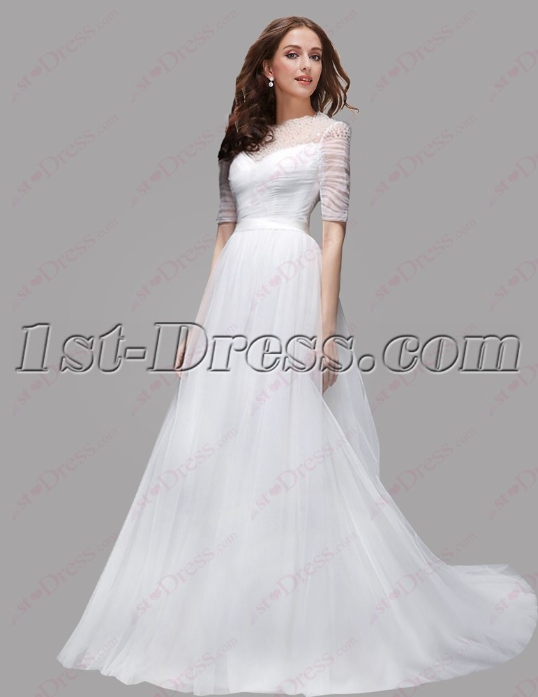 Modest Long Sleeves Lace Bridal Gown 2016 1st