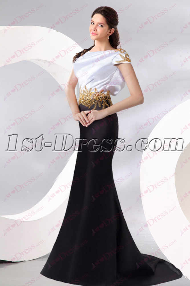 Open Back White and Black Prom Dress 2016:1st-dress.com
