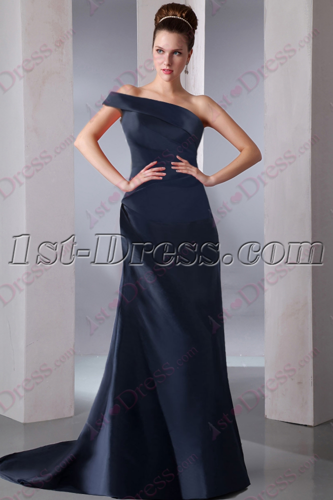 Romantic Navy Blue One Shoulder Prom Dress 2016:1st-dress.com