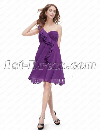 Charming Lavender One Shoulder Short Maternity Prom Dress