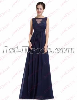 Charming Navy Blue Elegant Prom Dress