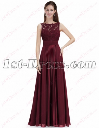Elegant Burgundy Lace Prom Dress with Open Back