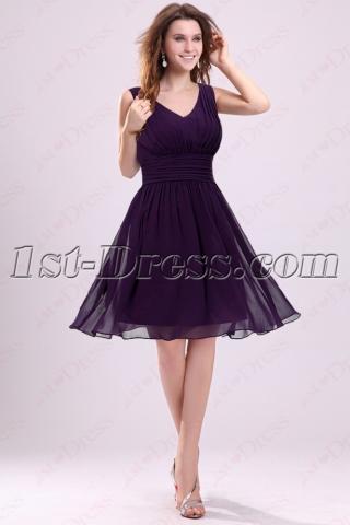 Grape V-neckline Homecoming Dresses Cheap Short