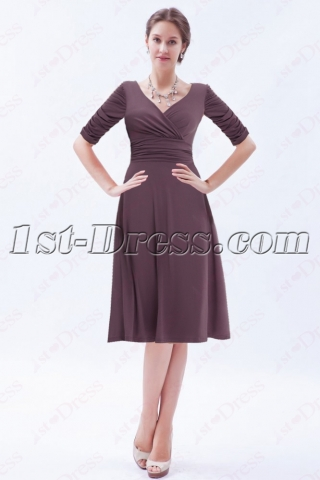 Modest Brown Middle Sleeves Short Prom Gown