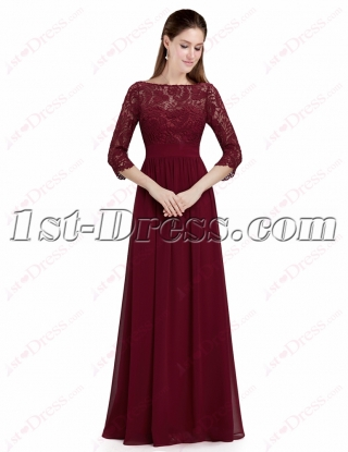 Modest Burgundy Lace 1/2 Long Sleeves Prom Dress
