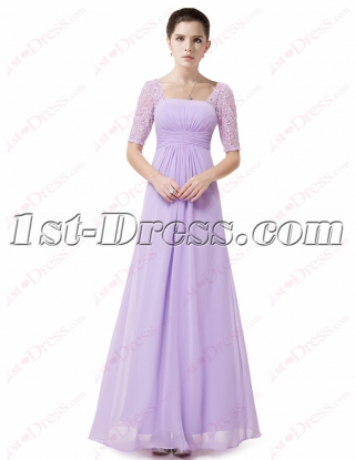 New Modest Lavender Chiffon Bridesmaid Gown