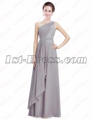 Pretty Silver Chiffon One Shoulder Evening Gown