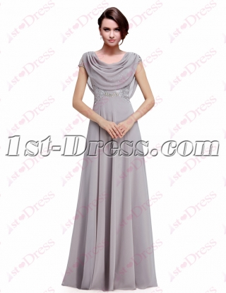 Romantic Silver Evening Gowns with Cowl Neckline