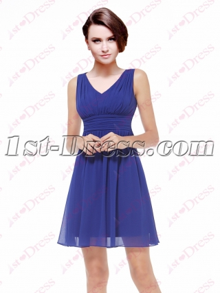 Simple Chiffon Royal Blue Short Bride of Maid Dress