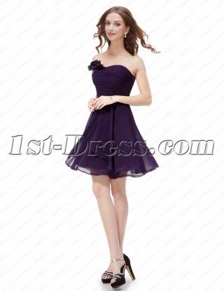 Simple Purple Cocktail Dresses for Juniors