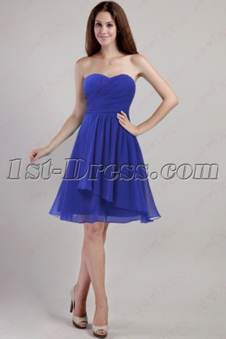Simple Royal Strapless Homecoming Gown