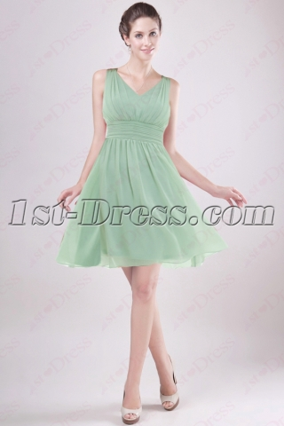 Simple Sage Chiffon Beach Bridesmaid Gown