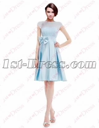 Sweet Modest Sky Blue Homecoming Gown