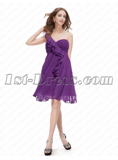 Charming Lavender One Shoulder Short Maternity Prom Dress