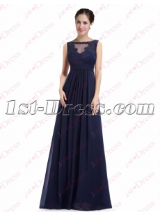 Charming Navy Blue Elegant Prom Dress