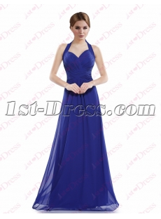 Charming Royal Blue Halter Long Prom Dress