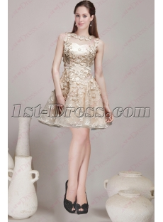 Classic Champagne Short Cocktail Dress