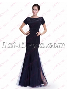 Classic Navy Blue Sheath Prom Dress with Short Sleeves