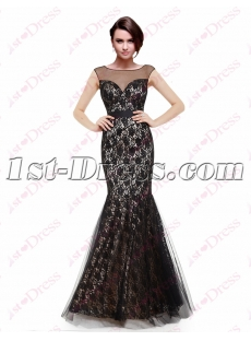 Elegant Mermaid Black Lace Formal Evening Gown