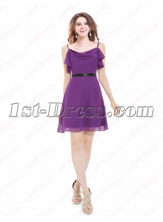 Lovely Simple Purple Short Graduation Dress