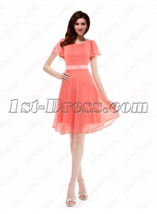 Modest Coral Chiffon Cocktail Dress with Butterfly Sleeves