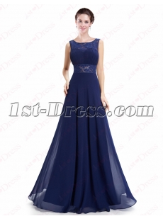 Modest Navy Blue Lace Prom Dress with Open Back