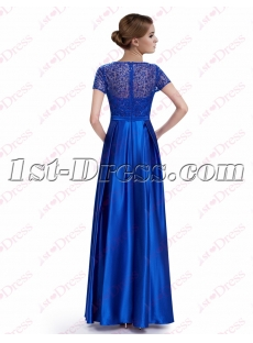 Modest Royal Blue Long Evening Dress with Short Sleeves