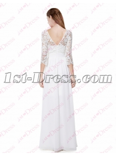 Modest White Lace Long Sleeves Formal Evening Dresses