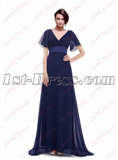 Navy Blue Mother of Bride Dress with Butterfly Sleeves
