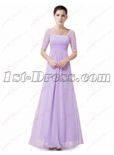 New Modest Lavender Chiffon Bridesmaid Gown