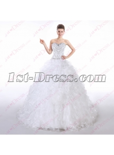 Pretty Beaded Strapless Ball Gown Wedding Dress 2016