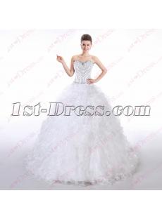 Pretty Beaded Strapless Ball Gown Wedding Dress 2016