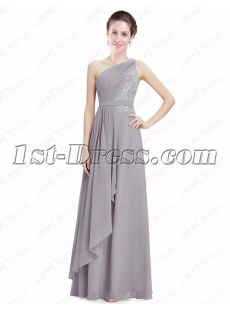 Pretty Silver Chiffon One Shoulder Evening Gown