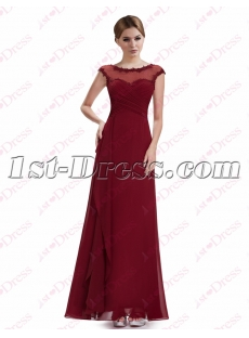 Romantic Burgundy Scoop Long Prom Gown 2016