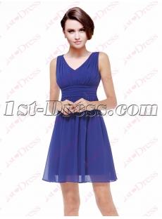 Simple Chiffon Royal Blue Short Bride of Maid Dress