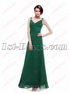 Simple Hunter Green Bridesmaid Dresses Chiffon