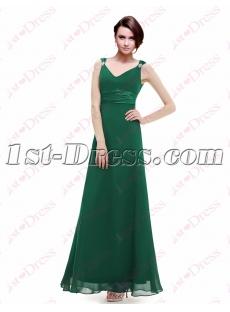 Simple Hunter Green Bridesmaid Dresses Chiffon