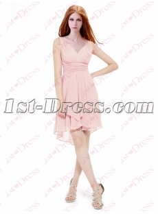 Simple Pink High Low Homecoming Gown 2016